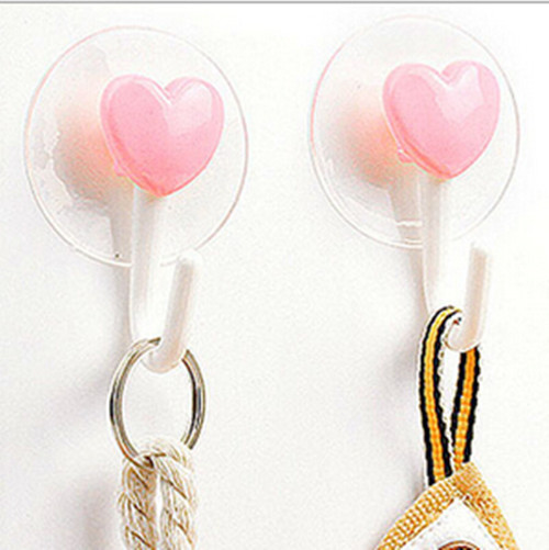 New  2016  2Pcs loving heart  Wall Hooks Hanger Kitchen Bathroom Suction Cup Suckers