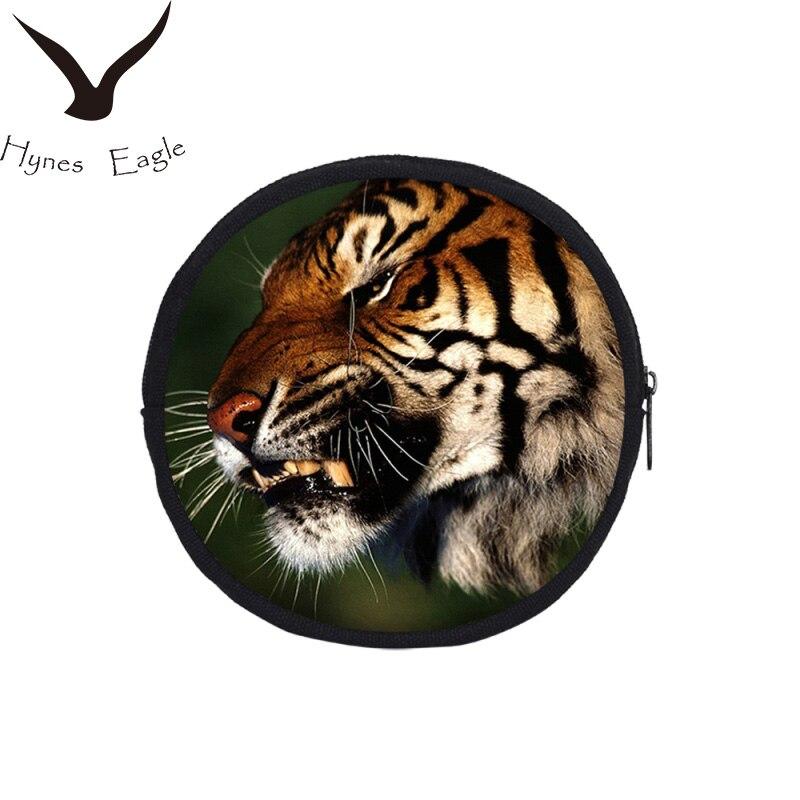 Hynes Eagle 3D Printing Coin Purses Fashion Animal Prints Round Coin Purses Clutch Bag Small Bag Zipper Wallet Oval Canvas Purse