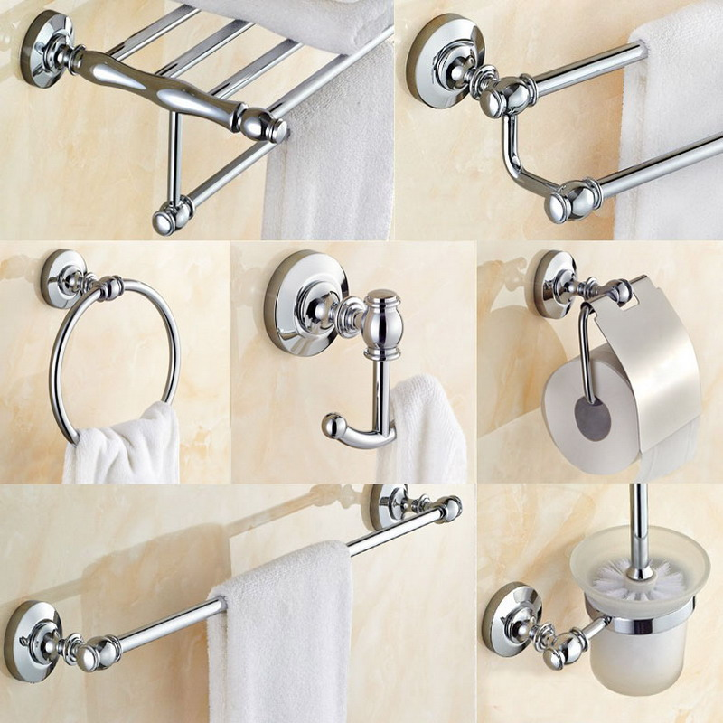 Bathroom Hardware Set Chrome Polished Toothbrush Holder Paper Holder Towel Bar Bathroom Accessories