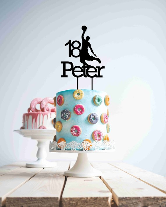 Magnificent Black Cake Topper Custom Name Age Personalised Basketball Sport 18 Personalised Birthday Cards Veneteletsinfo