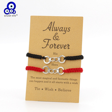 Lucky Eye Handcuffs Charms Bracelet Black Red String Thread Rope Coupl