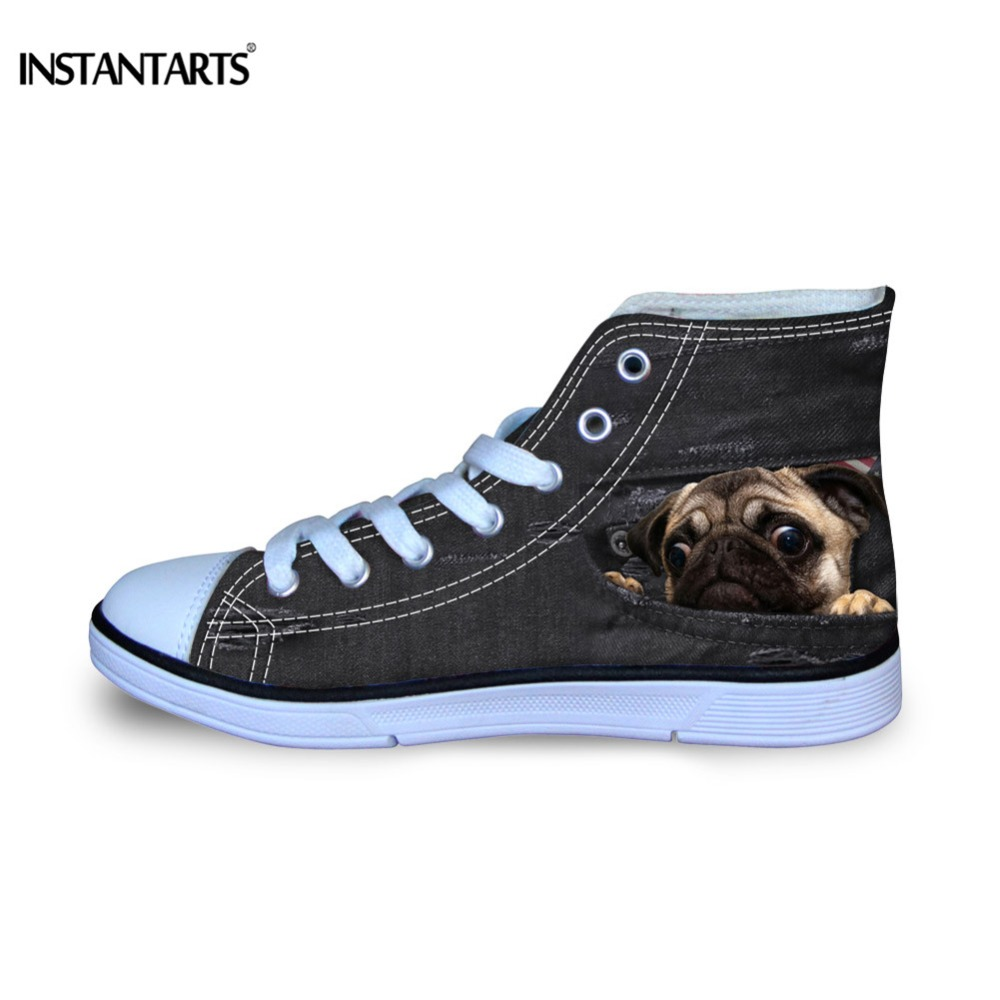 INSTANTARTS Kids Casual High Top Shoes Cute 3D Fake Black Denim Pug Dog Pattern Boys Girls Lace Up Sneakers Children Canvas Shoe cute 3d dog pattern silicone back case for iphone 4 4s black white