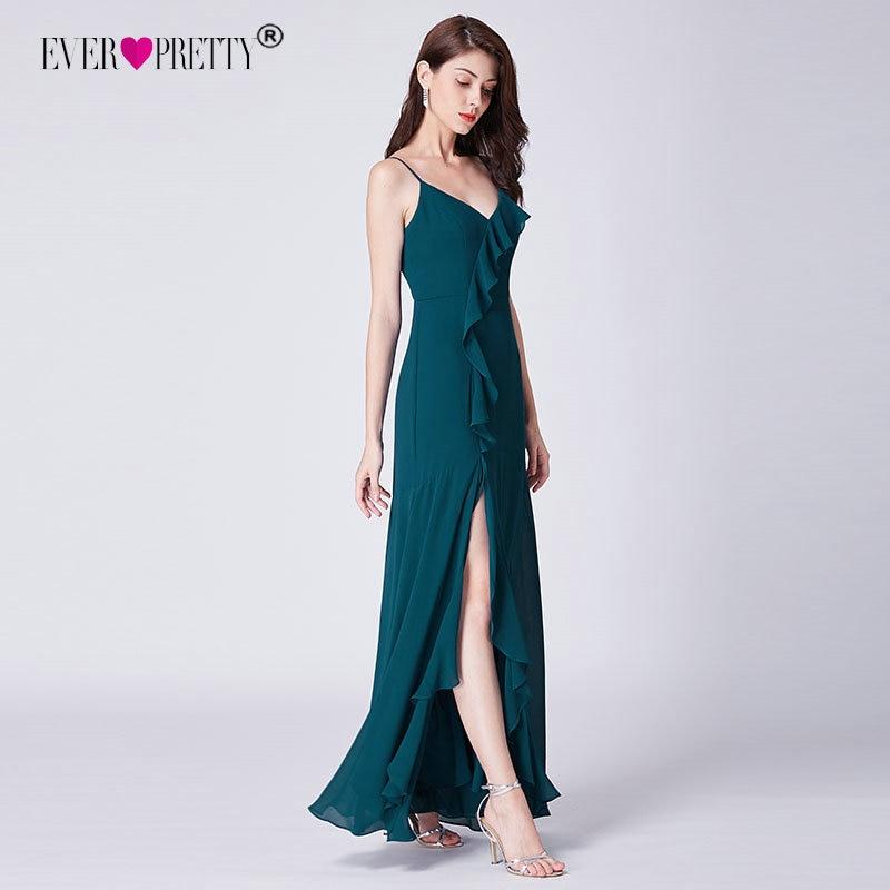 Когда-либо довольно халат De Soiree Новая мода линия V шеи бретельках Длинные шифон Вечерние платья оборками Вечерние EP07353