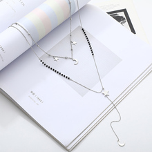 Moon and Star Charms Double Layer Chains Necklaces For Women Choker Long Necklace Stainless Steel Trendy Jewelry Party 2019 New