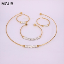 MGUB 2color New Fashion Earrings Necklace Parure jewelry Gold color stainless steel crystal jewelery outstanding NNQ45