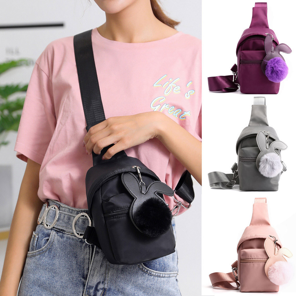 Crossbody Pack Handbag  Women Outdoor Nylon Hairball Zipper Messenger Bag Sports Chest Bag Waist Bag Mini Bag Female