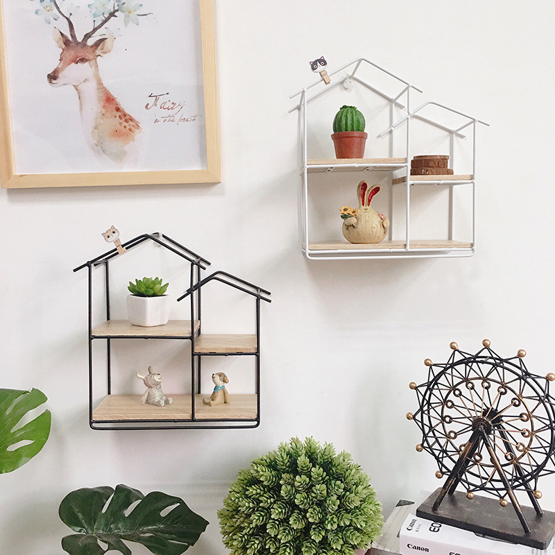 Creative Iron shelve Home Decoration Iron house Wall Shelf wall mount Decoration storage box new Year's gift birthday party Gift