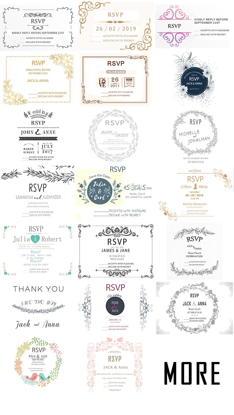 10Pcs Design Blank Wedding Print RSVP Cards Paper Party Invitations ...