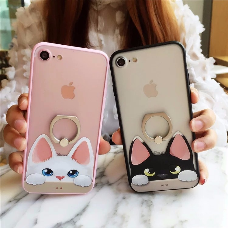 Galleria fotografica JSLTXDY For iPhone 7 case Lovely cat pattern Case for iPhone 6 6 S 7 Plus Ring holder Simple and stylish case hard phone case