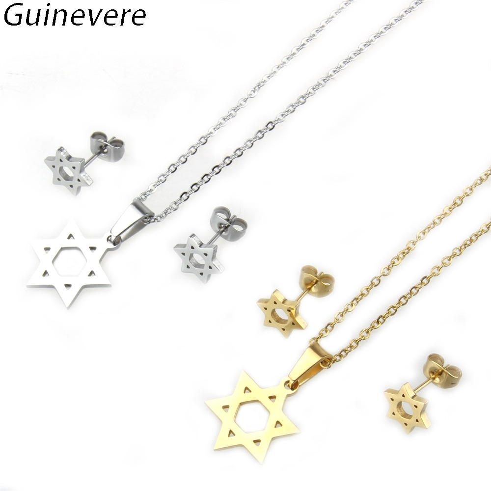 Guinevere Golden 316 Stainless Steel Hexagram Stud Earrings and Pendant  Necklaces Women s Jewelry Sets Girl s Fashion Jewelry 61c52e68303e