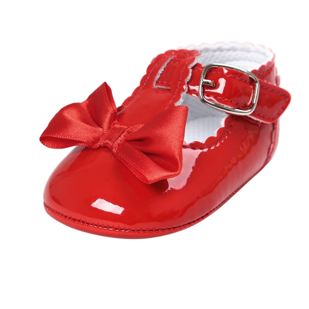 Red PU Leather Newborn Baby Boy Girl bowknot Soft princess Shoes Bebe Fringe Soft Soled Non-slip Footwear infant Shoes CX43C