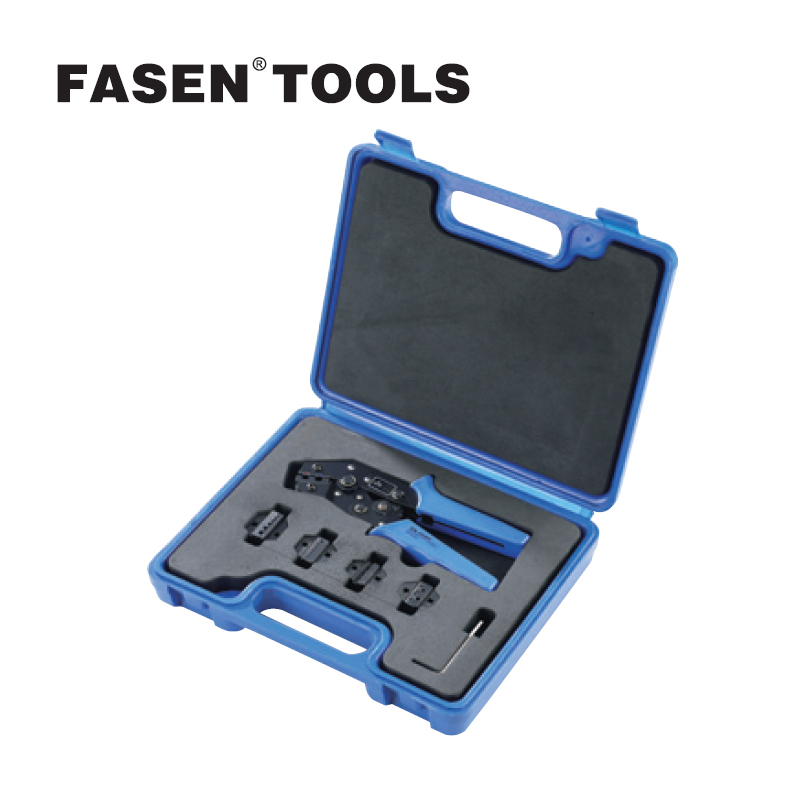 FASEN TOOLS SN0725-5D1 combination tools in Plastic Box crimping tool kit SN-0725 crimping plier + Pressure line module pliers crimping tool set contain one crimping tool and four replacement crimping dies jaws packing in a plastic box hs02c 5d1