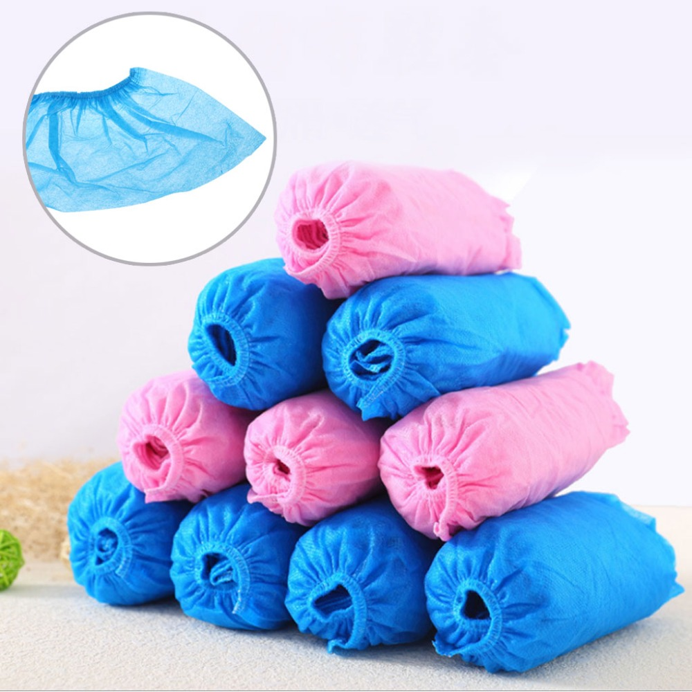 EYKOSI 100 Pcs Disposable Shoe Covers Indoor Cleaning Floor Non-Woven Fabric Overshoes For Women Men
