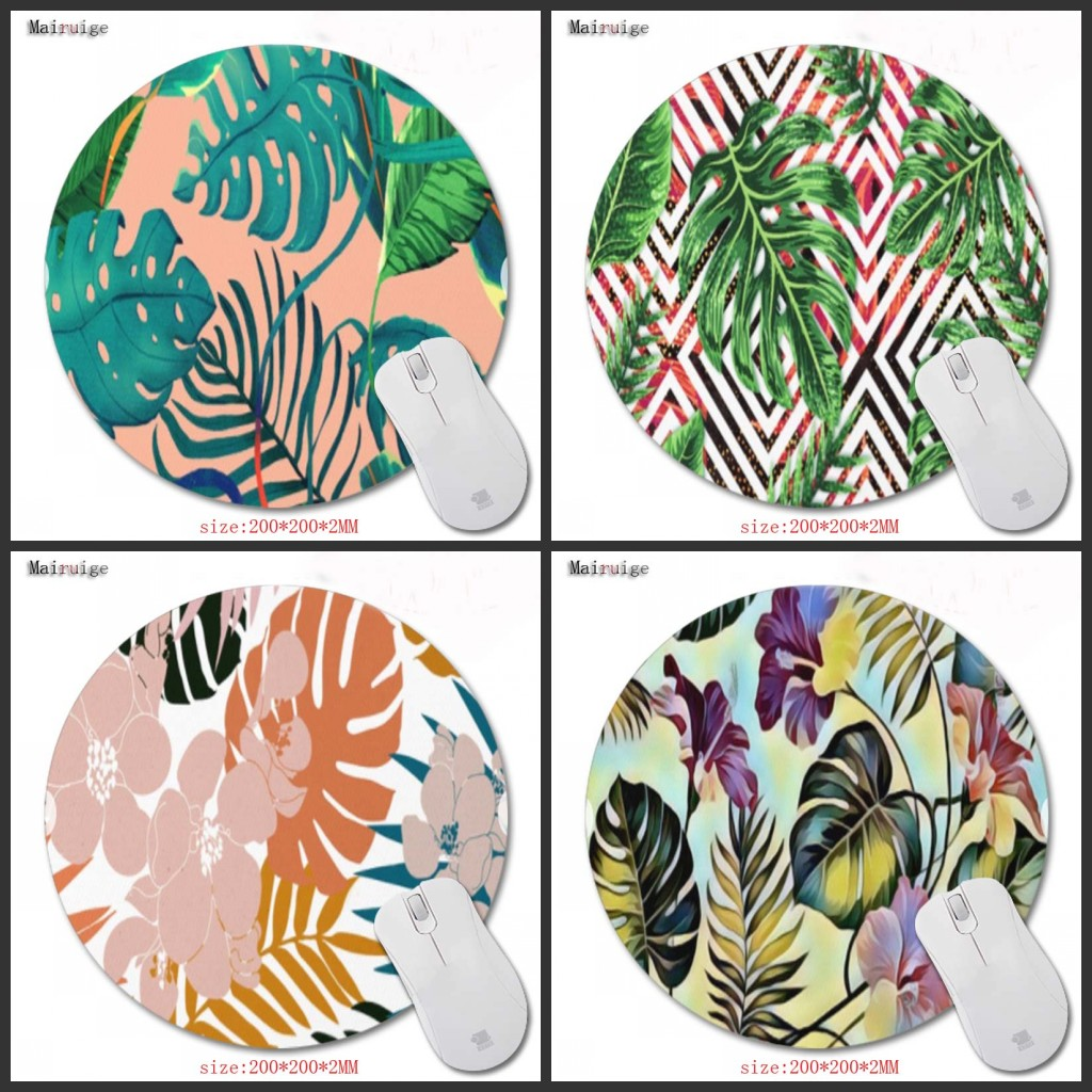 Mairuige Tropical Rainforest Green Mouse Pad Non-slip Natural Rubber Classic Palm Leaves Prints Gaming Mouse Pads Small Size