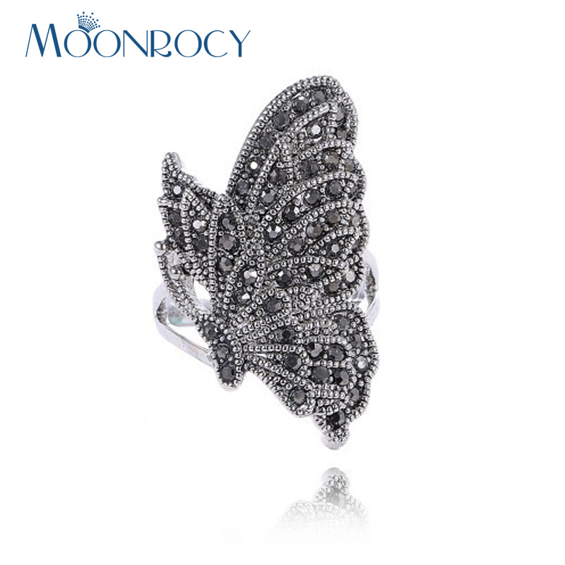 MOONROCY Free Shipping Antique Silver Color Austrian Crystal Rings Fashion Hyperbole Vintage Butterfly Ring for Women Gift