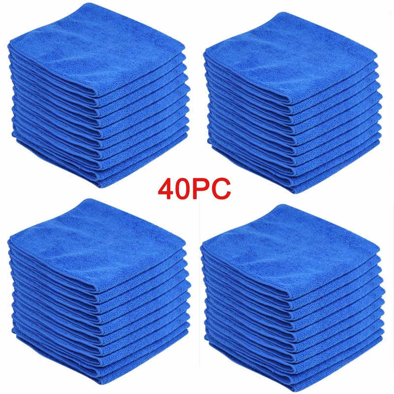 Cleaning Towel 40PCS 40x40CM Blue Car Detailing Mirofiber Soft Polish Cloths dyproship 19M7