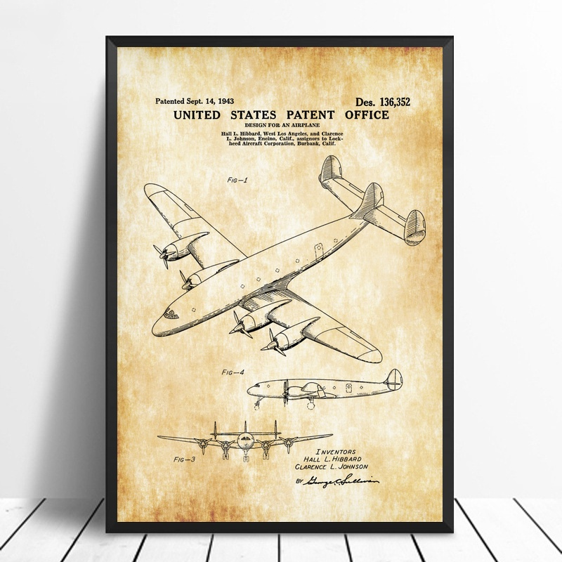Lockheed Constellation Airplane Patent Print Wall Art Poster Canvas Prints Home Decor No Frame image