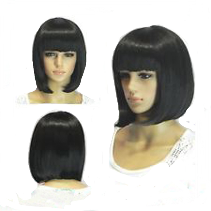 Straight Black Synthetic Wigs With Bangs For Women Medium Length Hair Bob Wig Heat Resistant bobo Hairstyle Cosplay wigs