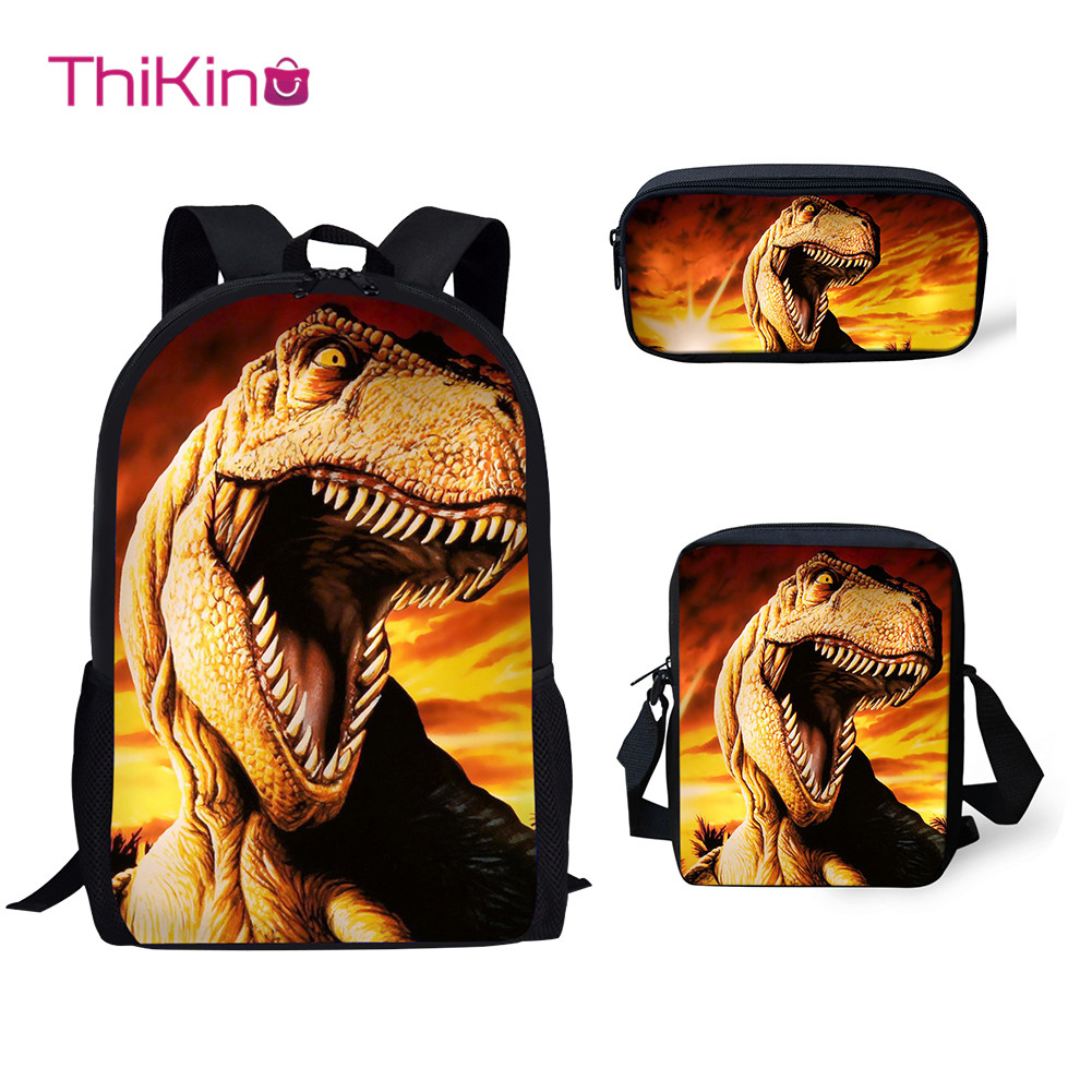 Thikin Jurassic World Dinosaur Pattern 3Pcs/set Children School Bags for Boys Backpack Teen Girls Kids Book