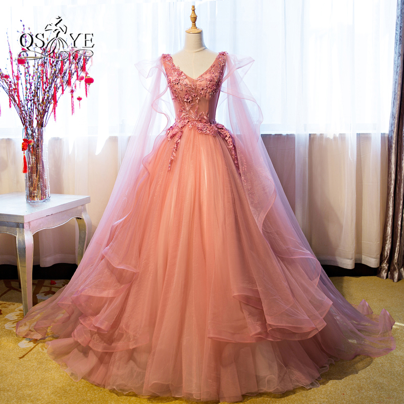 Vintage Ball Gown Long   Prom     Dresses   2017 Arabic Style V Neck Sexy Open Back Lace Beaded Formal Evening   Dress   with Cape