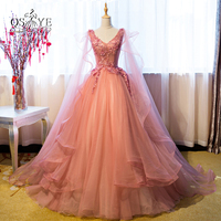 Vintage Ball Gown Long Prom Dresses 2017 Arabic Style V Neck Sexy Open Back Lace Beaded