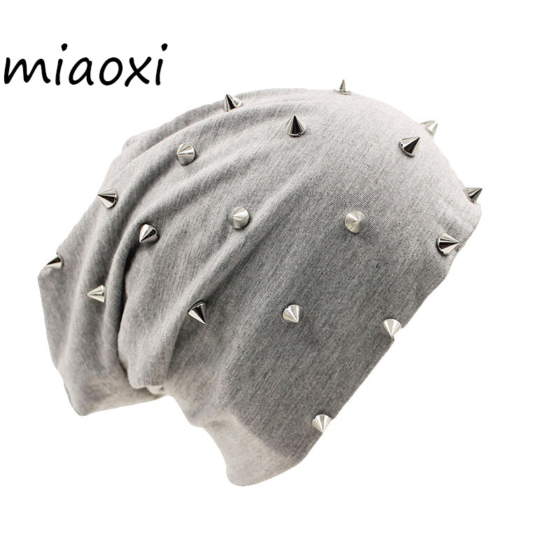 miaoxi New Fashion Women Autumn Hat Caps For Girl Rivet Knit   Beanie     Skullies   Colors Men Casual Hip-Hop Hats Adult Winter Bonnet