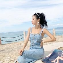 Fashion New Women Summer Dress 2019 Korean With Button Slim Strap Jeans Sheath Spaghetti Female Dresses