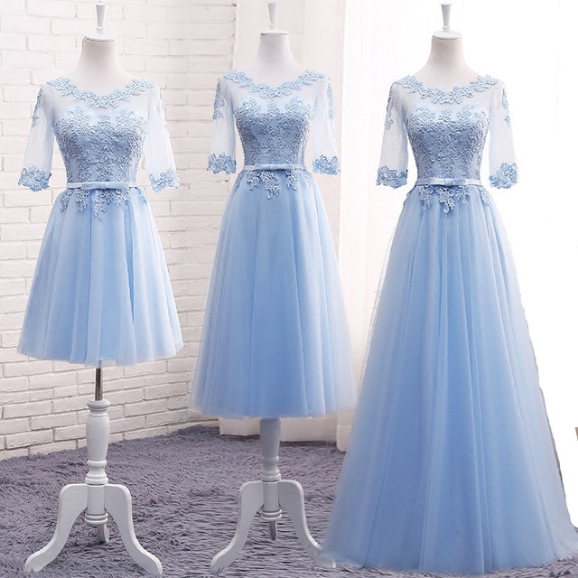 Light Blue Bridesmaid Dresses Long Embrodery Lace Half Sleeve Prom  Graduation Dresses Elegant Brides Gown With Sleeves 3236338e95eb