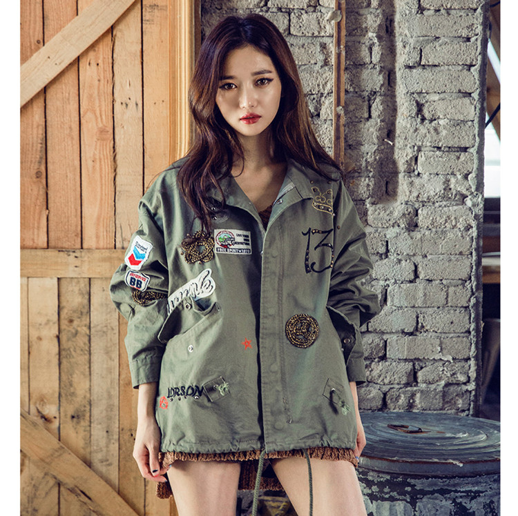 Fashion Women's Loose Casual Military Coat Stand Collar BF Safari Style Outwear Jacket Female Army Green Black