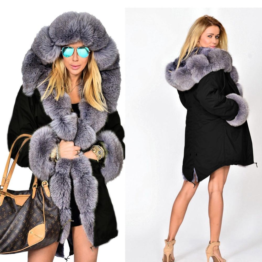 Roiii 2018 New Winter Women Coat Hot Top Sale Fashion Style Loose Hooded Casual Grey Faux Fur Black jacket women   Parka   Plus Size