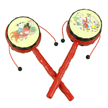 Chinese For Baby Kids Cartoon Hand Bell Toys Wooden Rattle Drum Musical Instrument Traditional Spin