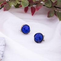 MetJakt Vintage Natural Lapis Earrings Solid 925 Sterling Silver Zircon Clip Earrings for Women's Party Wedding Jewelry