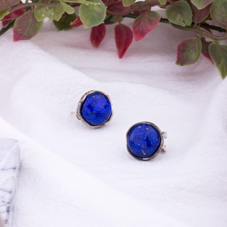 MetJakt Vintage Naturel Lapis Boucles D'oreilles Solide 925 En Argent Sterling Zircon Boucles D'oreilles Clip pour les Femmes de Bijoux De Mariage De Partie