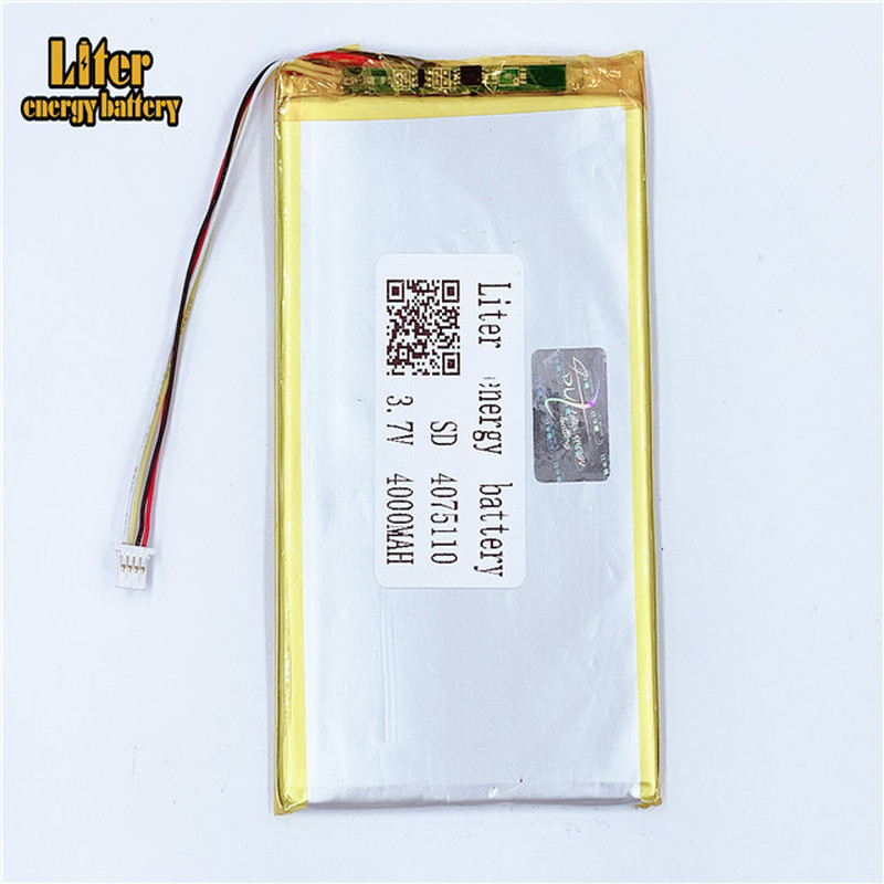 plug 1.0-4P 4075110 <font><b>3.7V</b></font> <font><b>4000mah</b></font> Tablet PC lipo <font><b>battery</b></font> in rechargeable <font><b>Batteries</b></font> with full capacity image