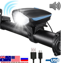 Dropshipping Bike Light LED Flashlight With Bell + Horn Luces Bicicleta  Lamp MTB Road Cycling Headlight Bicycle Accessories