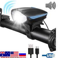 Dropshipping Luz de Bicicleta linterna LED con campana + Luces de cuerno Bicicleta lámpara MTB Carretera ciclismo faro accesorios de Bicicleta