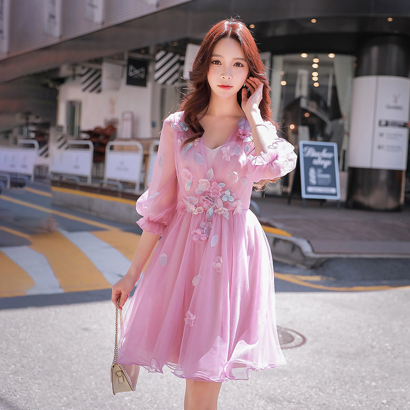 Dabuwawa Romantic Pink Princess Mesh Dress for Girls Women New V Neck Floral Appliques Sweet Date