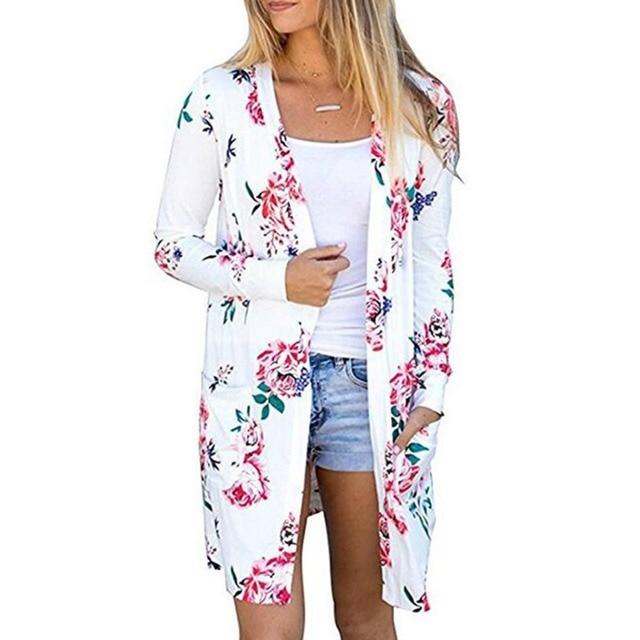 Citaten Zomer Kimono : Zomer bloemen strand kimono vest lange mouw blouse