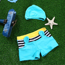 boy swimsuit Baby Boy Swimwear Maillot De Bain Fille baby Boys Swimwear with Swim Hat Blue Boy Swimware Trunks maillot hat
