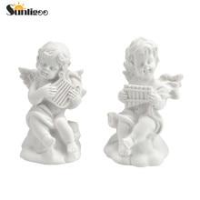 Hot 4pcs Mini Cute Angel Statue Small Cupid Figurine Home Decoration Small Music Fairy Model Sketch practice Estatua