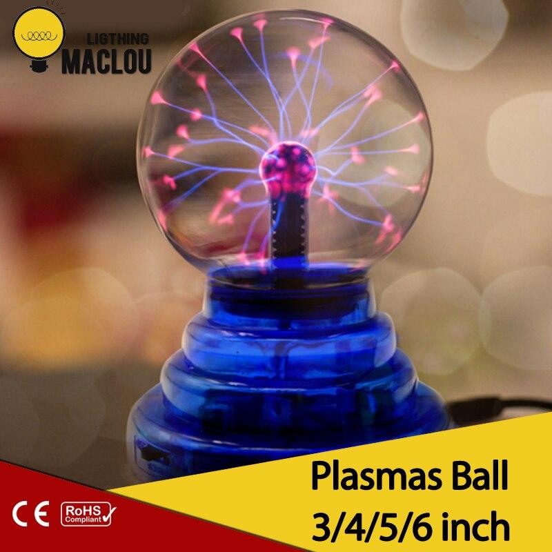 Neuheit Glas Magie Plasma-Ball Licht 3 4 5 6 zoll Tisch Leuchtet Kugel Nachtlicht Kinder Geschenk Für Neue Jahr magie Plasma Nacht Lampe