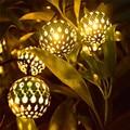 2X luz da corda LED solar, Incluindo 10 bolas, De natal Garland luzes, 3.5 M Metal lâmpadas de luz corda para jardim, Pátio