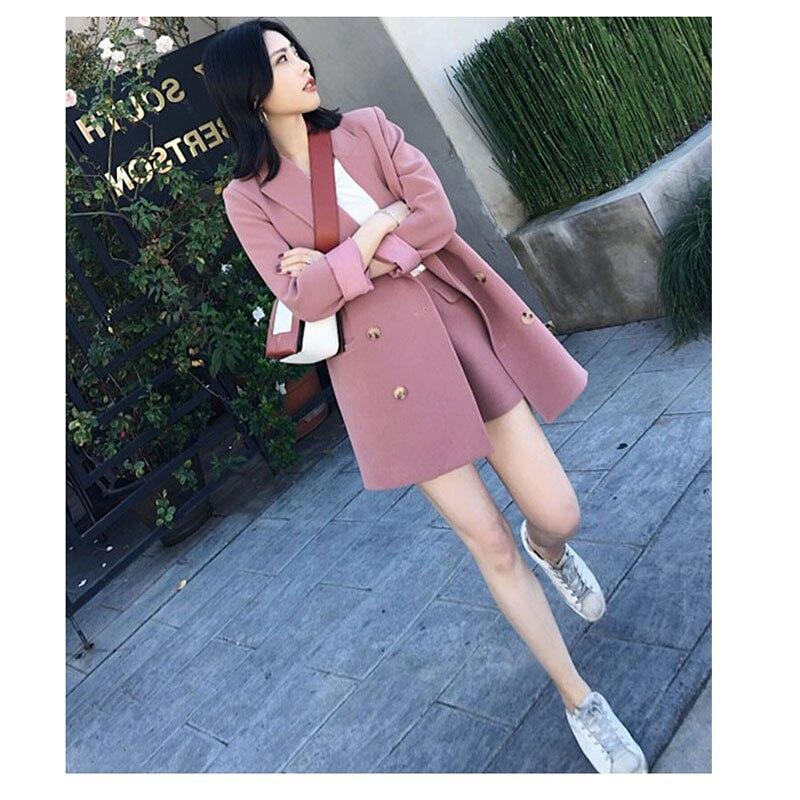 Autumn Two Pieces sets 2018 fashion long suit jacket female casual blazer coat + shorts suit office business women clothing
