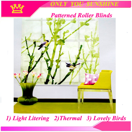 Free Shipping! BLACKOUT THERMAL WINDOW BIRDS SINGING PATTERNED ROLLER BLIND SHADE BLOCK SUN 200CM DROP---MADE TO MEASURE