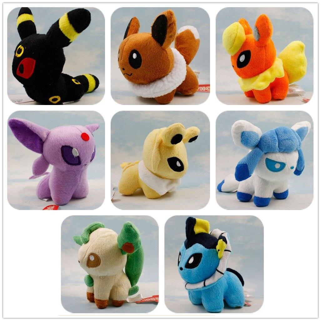 8 Pieces/Lot Plush Toy Stand Eevee Sylveon Eeveelution Vaporeon Kid Doll Hot Gift