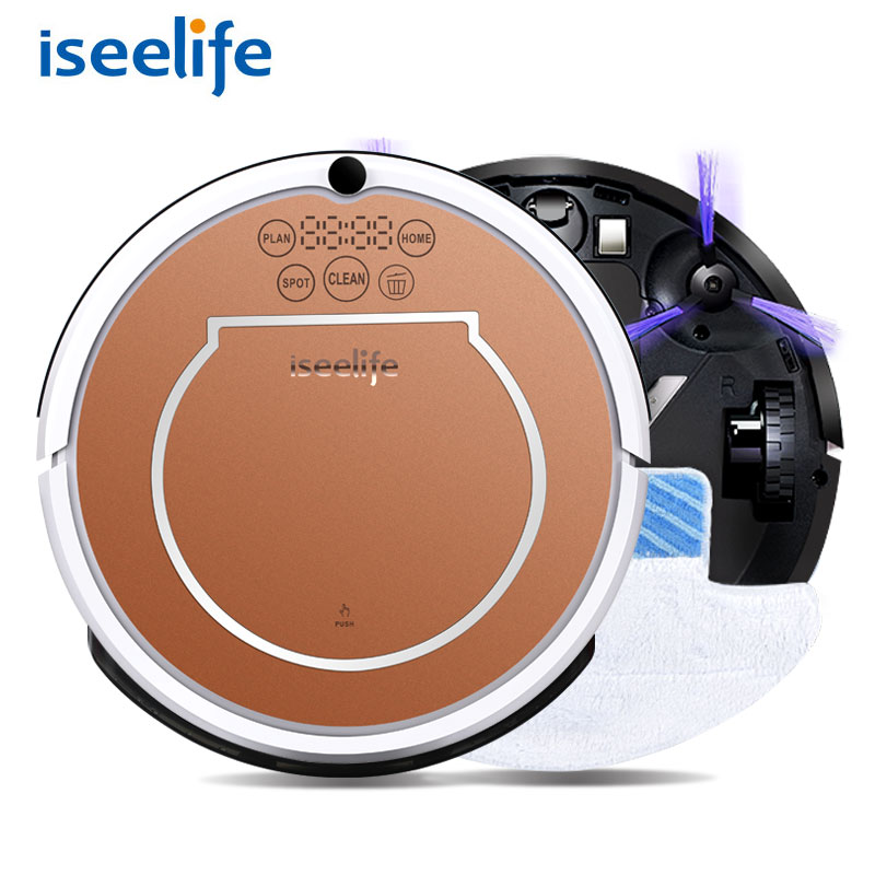 2017 ISEELIFE Wet Robot Vacuum Cleaner for Home 2 in1 PRO2S Mop Dry Wet Water Tank 800PA 2600mAH Li Auto Cleaning Smart ROBOT 2017 wifi smartphone app control sweeping vacuum sterilize wet and dry mop vacuum cleaner robot qq6 update with water tank