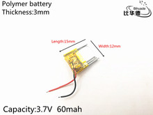 3.7V 60mAh 301215 Lithium Polymer LiPo Rechargeable Battery ion cells For Mp3 Mp4 Mp5 DIY PAD DVD E-book bluetooth headset