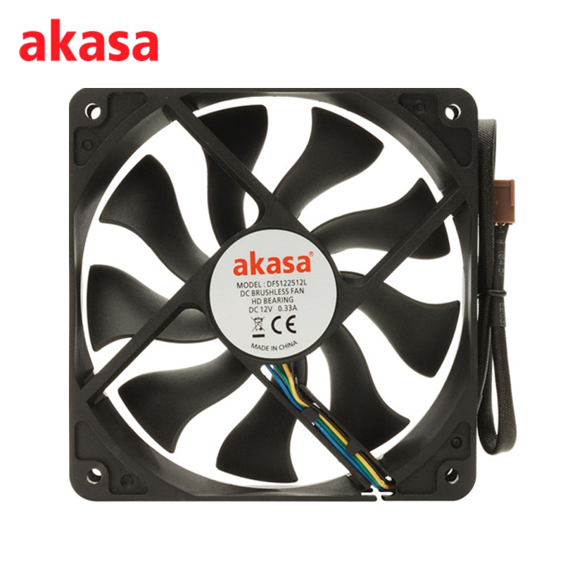 Akasa 12CM 4Pin Cooling Fan PWM Cooling Fans Silent CPU Cooler 12V S-FLOW Fan Heat Sink Hydro Dynamic Bearing Ultra Quiet computador cooling fan replacement for msi twin frozr ii r7770 hd 7770 n460 n560 gtx graphics video card fans pld08010s12hh