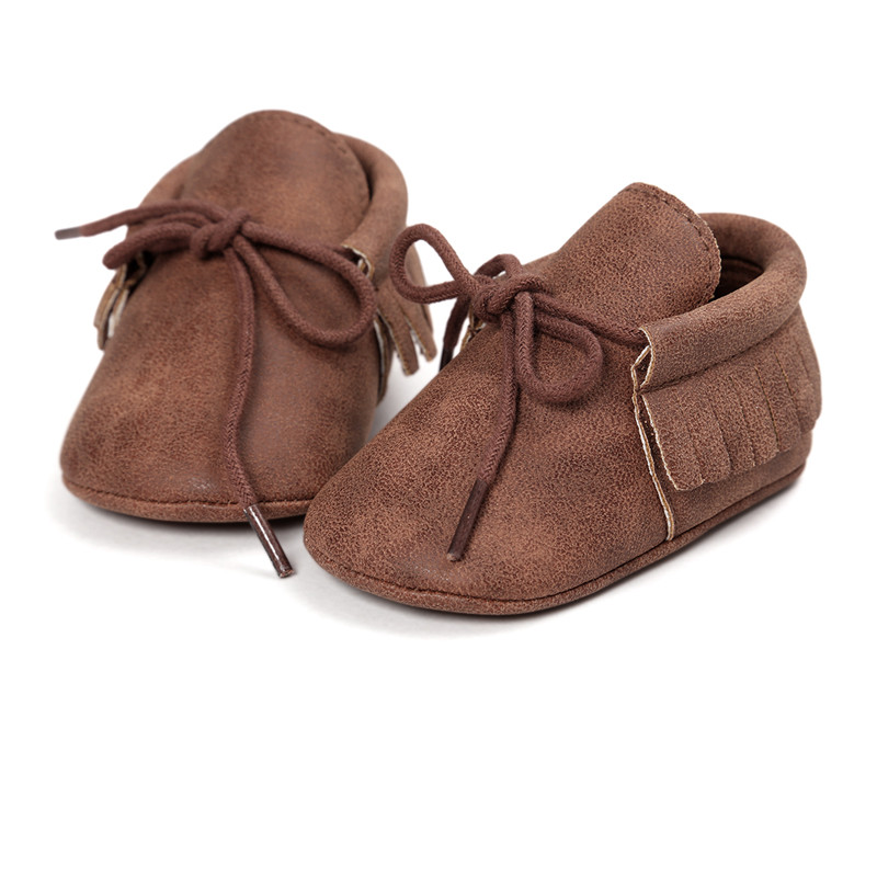 0~18 month PU Leather coffee color Baby Shoes Baby Moccasins Newborn Shoes Soft Infants Crib Shoes Sneakers First Walker