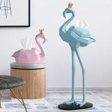 Розовый фламинго декорации комнаты коробка ткани гостиной декорации ткани держатель коробки для домашнего декора аксессуары Европа статуя смолы
